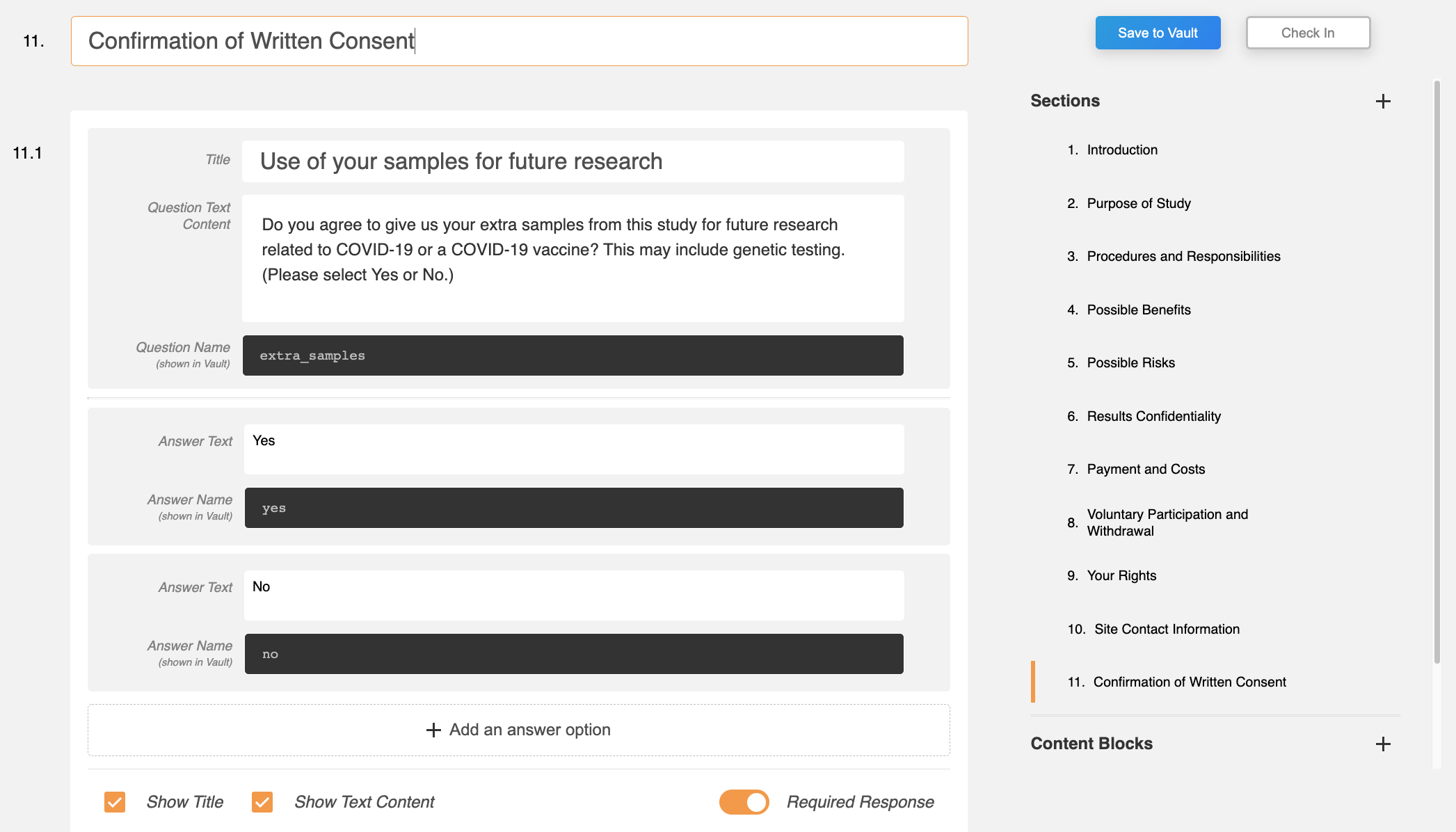 Additional response name and answer fields